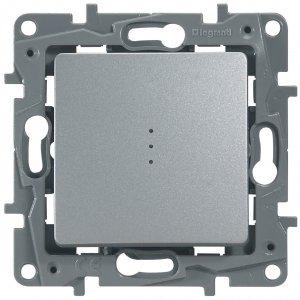 Выключатель одноклавишный проходной с подсветкой алюминий Etika Plus