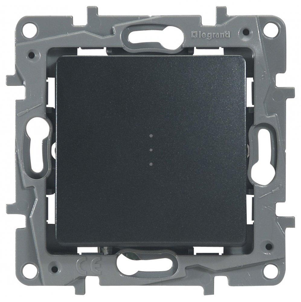 Выключатель одноклавишный проходной с подсветкой антрацит Etika Plus