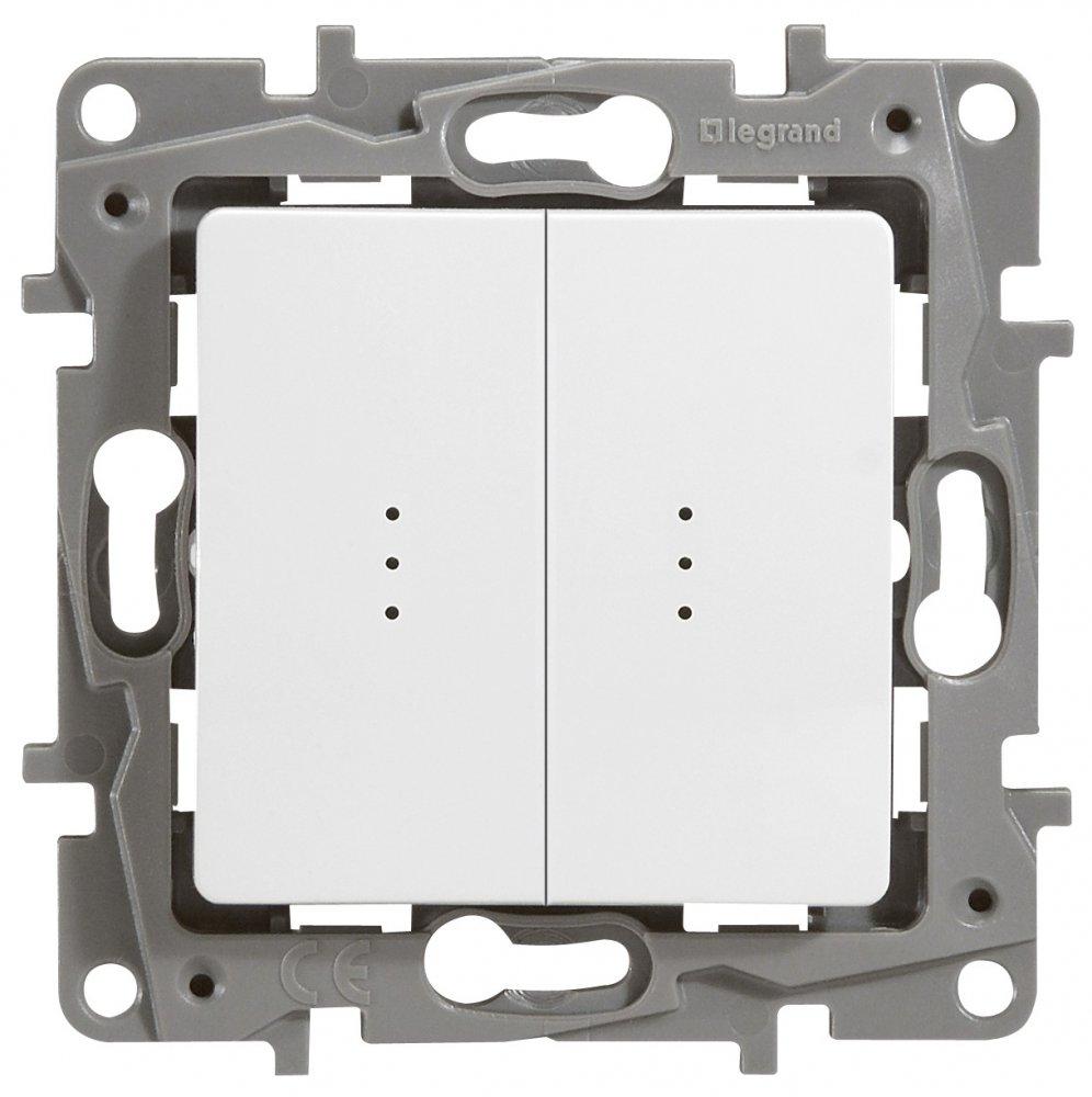 Выключатель двухклавишный проходной с подсветкой белый Etika Plus