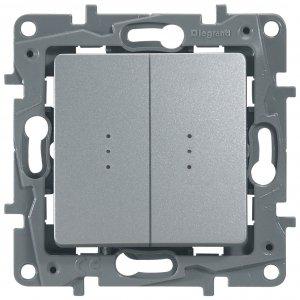 Выключатель двухклавишный проходной с подсветкой алюминий Etika Plus