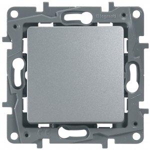 Выключатель одноклавишный однотактный алюминий Etika Plus