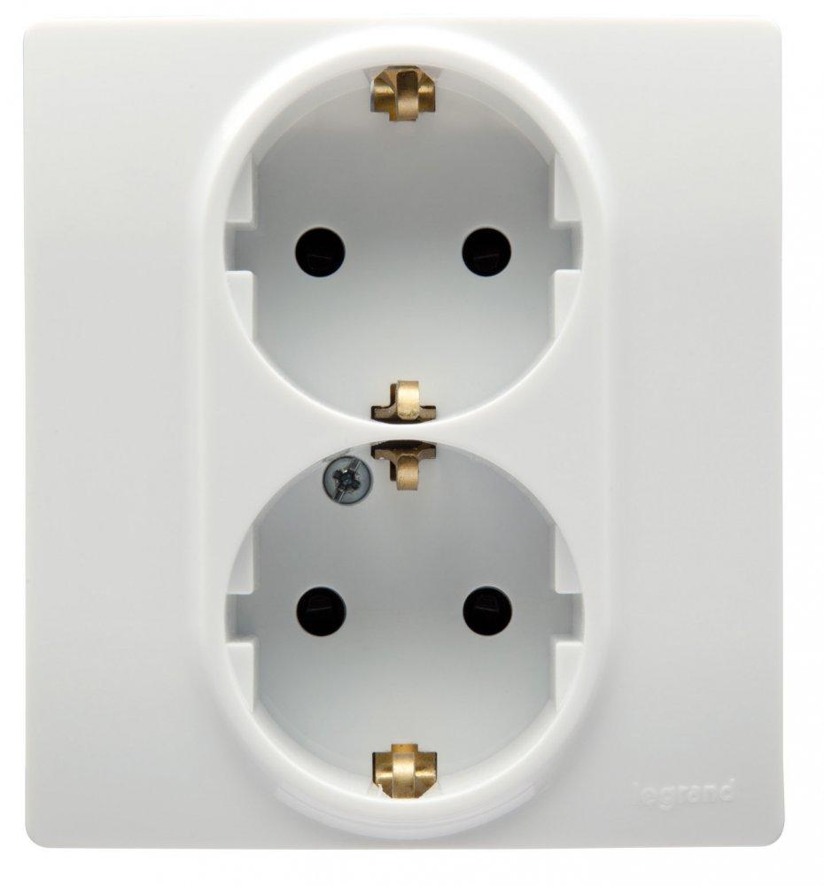 Розетка двойная с заземляющим контактом и защитными шторками белый Etika Plus