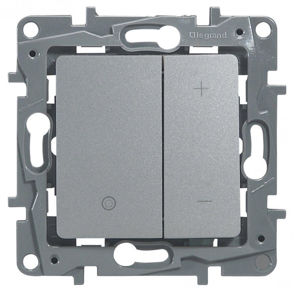 Светорегулятор кнопочный 20-400Вт алюминий Etika