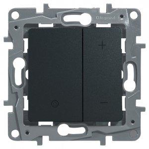 Светорегулятор кнопочный 20-400Вт антрацит Etika