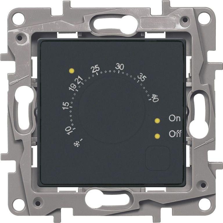 Фото Терморегулятор для систем Теплый пол антрацит Etika