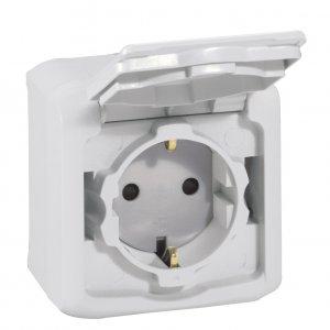 Розетка с заземляющим контактом, крышкой и защитными шторками для защиты детей, влагозащищенная (IP44) 16 А, 250 В~