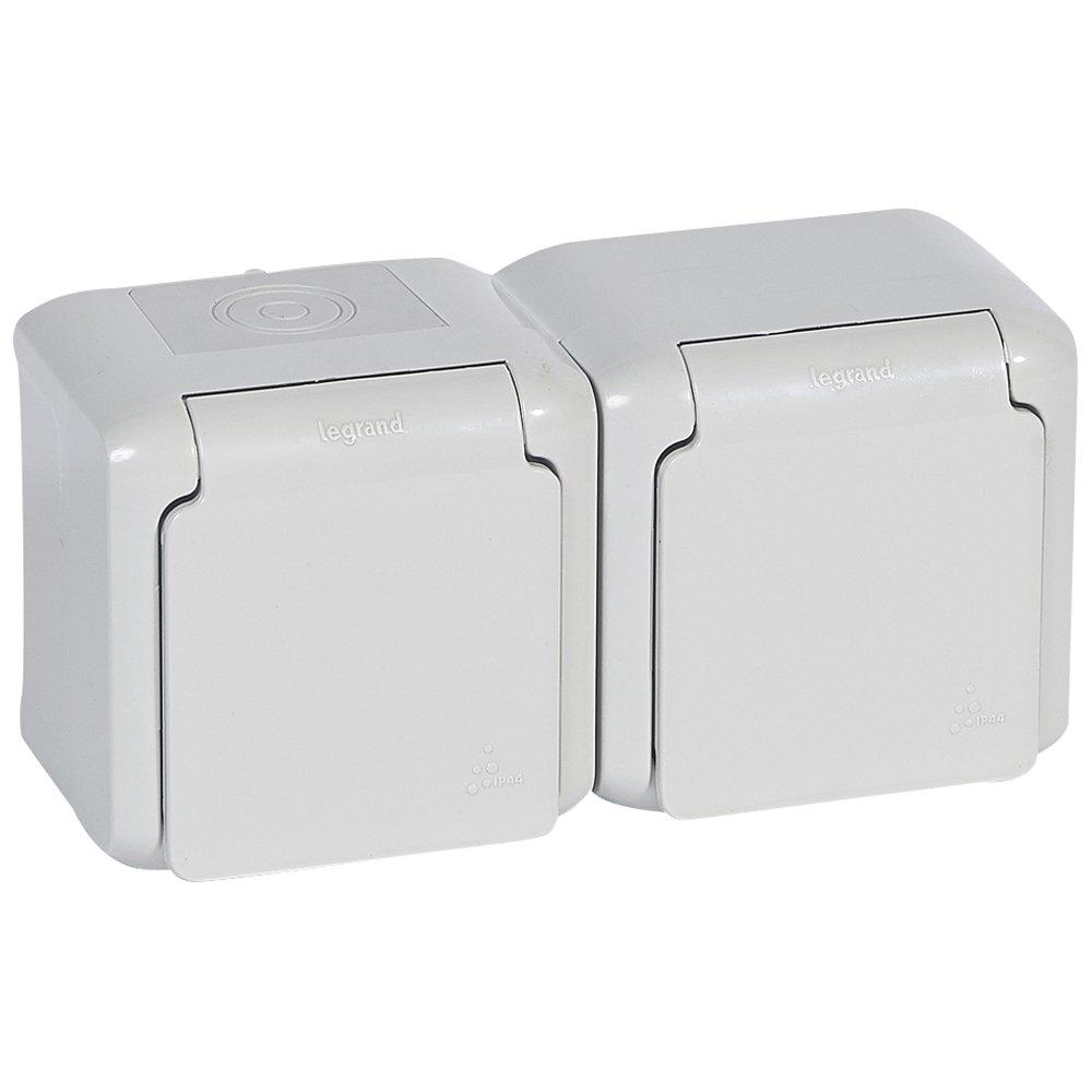Розеточный блок двойной с заземляющим контактом, крышкой и защитными шторками для защиты детей, влагозащищенная (IP44) 16 А, 250 В~