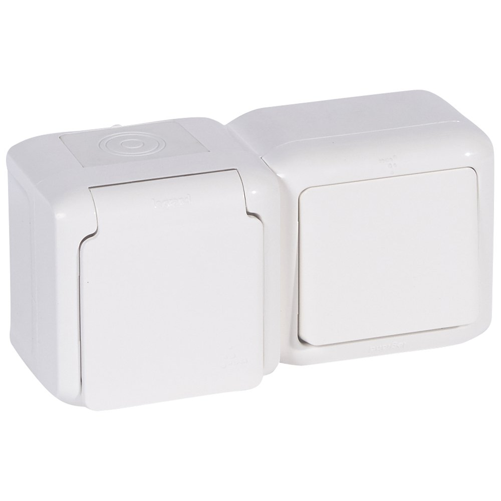 Фото Блок двойной в сборе влагозащищенный (IP44) выключатель одноклавишный 10 А, 250 В~ + розетка с заземляющим контактом, крышкой и защитными шторками для защиты детей 16 А, 250 В~
