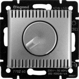 Светорегулятор поворотно-нажимной алюминий Valena