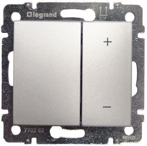 Светорегулятор кнопочный 40-600Вт алюминий Valena