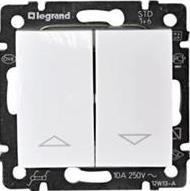 Фото Механизм управления приводами с блокировкой двухклавишный однотактный (кнопка) 10 А, 250 В~ Valena Legrand