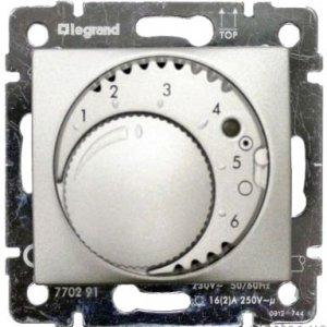 Терморегулятор комфорт с выключателем алюминий Valena