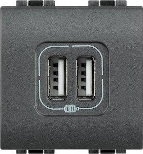 Фото Зарядное устройство USB двойное 750mA 250 В~, 2 модуля