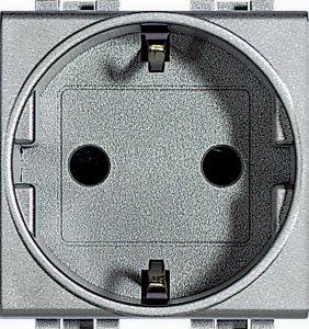 Фото Розетка с заземляющим контактом и защитными шторками для защиты детей 16 А, 250 В~ немецкий стандарт 2 модуля, автоматические клеммы