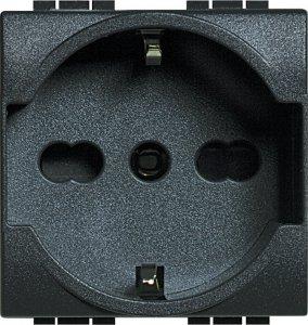 Фото Розетка с заземляющим контактом и защитными шторками для защиты детей 16 А, 250 В~ итальянский и немецкий стандарт 2 модуля