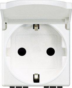 Розетка с заземляющим контактом, крышкой (откидной) и защитными шторками для защиты детей 16 А, 250 В~ немецкий стандарт 2 модуля, автоматические клеммы