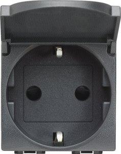 Фото Розетка с заземляющим контактом, крышкой (откидной) и защитными шторками для защиты детей 16 А, 250 В~ немецкий стандарт 2 модуля, автоматические клеммы