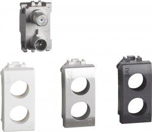Фото Розетка TV-SAT - простая, 1 модуль, с лицевыми панелями «Белый», «Алюминий», «Антрацит»