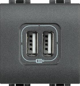 Зарядное устройство USB двойное 750mA 250 В~, 2 модуля