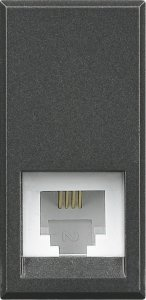 Фото Розетка телефонная один выход RJ11 (4 контакта) 1 модуль
