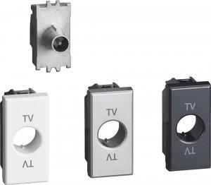 Фото Розетка телевизионная TV - проходная, 1 модуль, с лицевыми панелями «Белый», «Алюминий», «Антрацит»