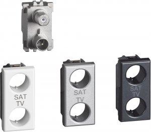 Розетка TV-SAT - простая, 1 модуль, с лицевыми панелями «Белый», «Алюминий», «Антрацит»
