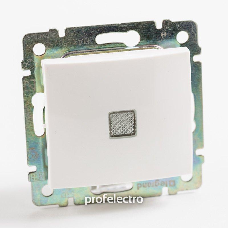 Фото Выключатель одноклавишный крестовой (промежуточный) с подсветкой (зеленая лампочка) 10А, 250В~ Valena Legrand