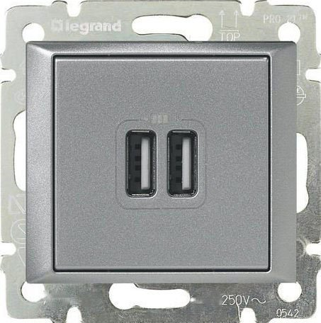 Зарядное устройство USB алюминий Valena
