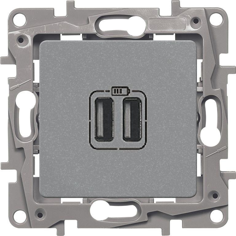 Зарядное устройство USB  алюминий Etika