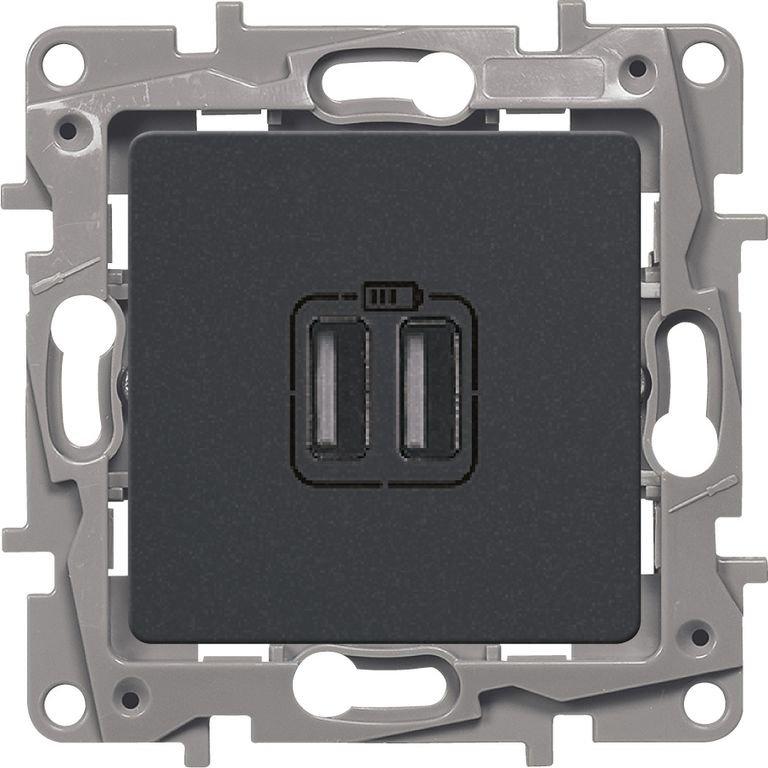 Зарядное устройство USB антрацит Etika