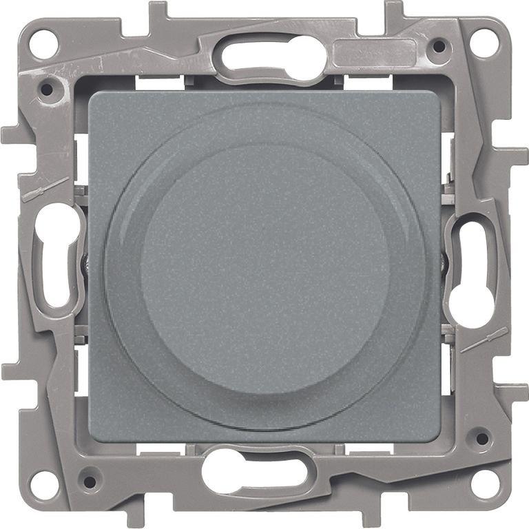 Светорегулятор поворотный 5-300Вт алюминий Etika