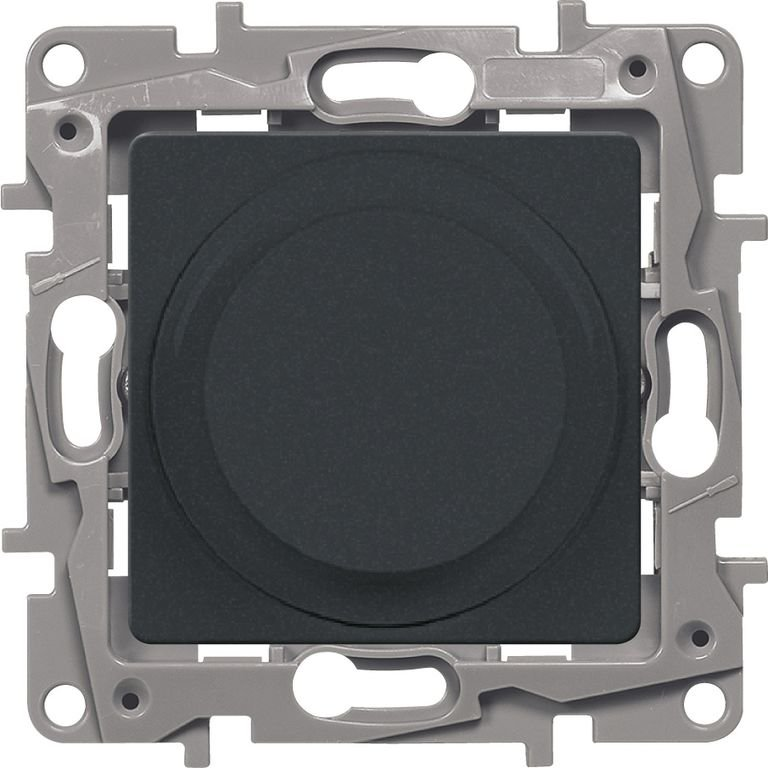 Светорегулятор поворотный 5-300Вт антрацит Etika