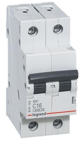 Фото Автоматические выключатели двухполюсные 4,5 кА Legrand RX3 тип С