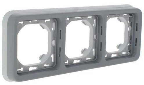Фото Суппорт с рамкой трехпостовой горизонтальный влагозащищенный (IP55) Plexo Legrand