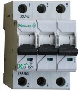 Автоматические выключатели трехполюсные 6 кА Eaton (Moeller) PL6 тип С