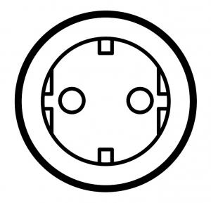Розетка с винтовыми зажимами, заземляющим контактом и защитными шторками для защиты детей