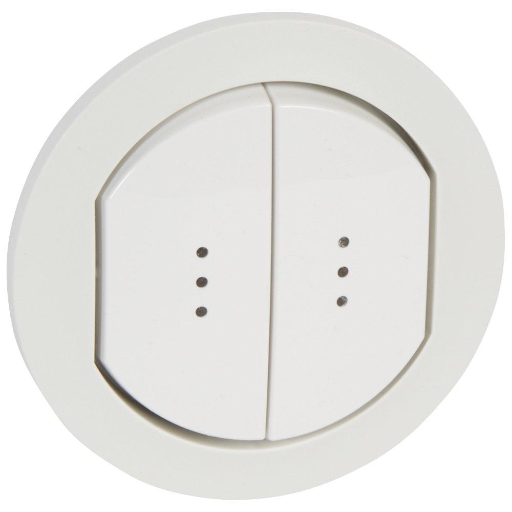 Фото Двухклавишный выключатель с подсветкой / индикацией, влагозащищенный (IP44)