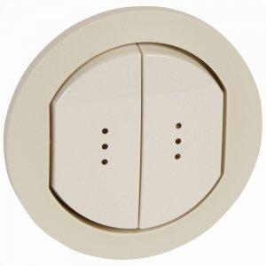 Двухклавишный выключатель с подсветкой / индикацией, влагозащищенный (IP44)