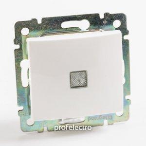 Выключатель одноклавишный проходной с подсветкой белый Valena